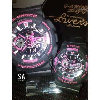 G-shock Couple Black Pink Gred A+ (FREE BOX)