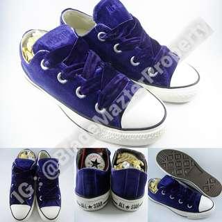 Sepatu Kets Converse Allstar Chucktaylor Suede Beludru Classics Purple Ungu