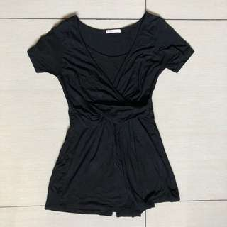 Elin black nursing and maternity top