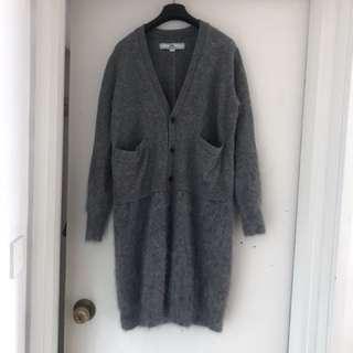 Initial size 2 兔毛拼冷灰色外套