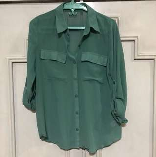 Forever 21 green sheer long sleeves top