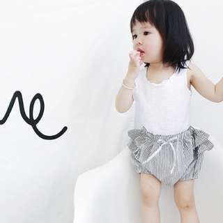 Baby Girl Stripe Ruffle Shorts