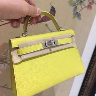 全新A Hermes Kelly mini 2 9R糖果黃