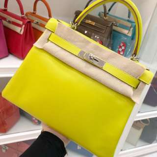 Hermes Kelly 28 9R糖果黃 99新
