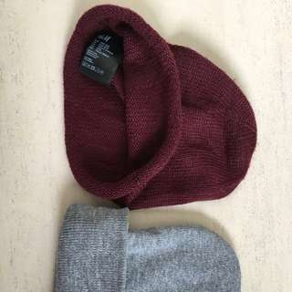 H&M hat (red maroon) and Grey hat (no brand)