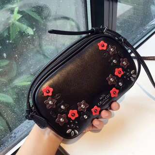 Coach Crossbody Pouch with Floral Appliqué- black