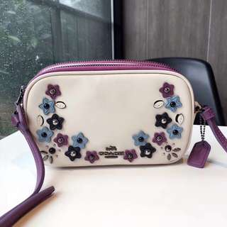 Coach Crossbody Pouch with Floral Appliqué - white purple