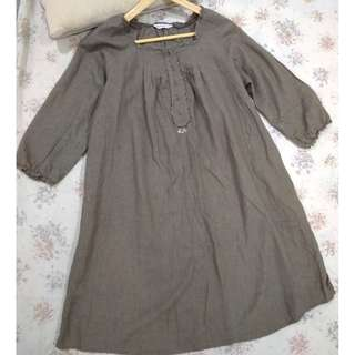 MATERNITY COTTON KHAKI DRESS