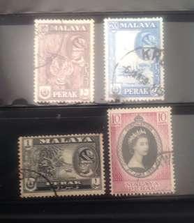 Malaya 1957 Perak Def 3V & 1953 Coronation 1V (0301)