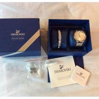 LIKE NEW Swarovski Round Steel Watch + Bangle Cuff Bracelet Set SWISS MADE Watch