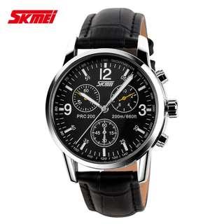 SKMEI Jam Tangan Analog Pria Leather Strap - 9070CL - Black