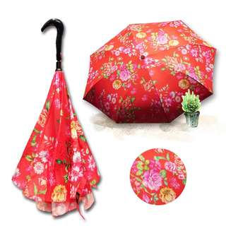 Xin Double-layered Umbrella Cloth Reverse Umbrella Taiwan Cotton-rose Series (Red)