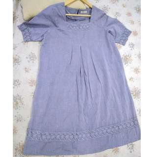MATERNITY COTTON BLUE DRESS