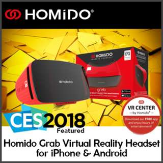 Homido Grab Virtual Reality VR Headset for iPhone and Android From FRANCE Featured in CES 2018