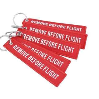 Remove Before Flight Tag Keychain