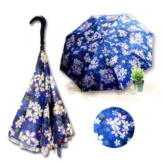 Ye Xin Double-layered Umbrella Cloth Reverse Umbrella Cherry Blossom Series (Blue)