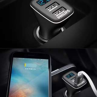 Philips Dual USB Car Charger with Volt Meter