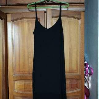 Factorie slip on spaghetti black dress
