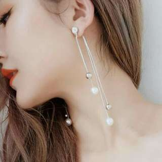 IMPORT - Anting Dual Pearl Long Tassel