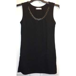 Women's Black Sleeveless Embellished Rose Gold Stone Collar Top [AU8]
