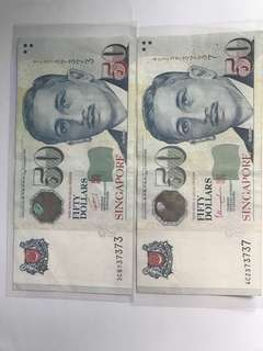 """Singapore $50 Note """"737373 n 373737"""""""