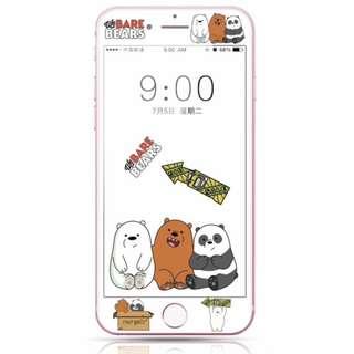 保護膜 IPhone6/7/8/plus : 可愛三隻熊TheBareBears3D軟邊鋼化膜