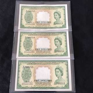21st March 1953 Queen E $5 With 3 Run