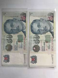 "Singapore $50 Note ""000072 n 000099"""