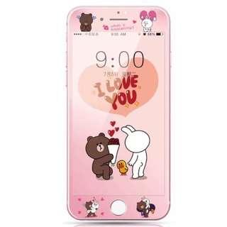 保護膜 IPhone6/7/8/plus : Linefriends情侶3D軟邊鋼化膜