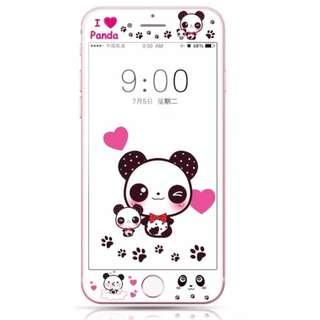 保護膜 IPhone6/7/8/plus : 可愛熊貓3D軟邊鋼化膜