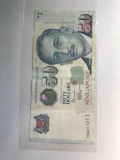"Singapore $50 Note ""011011"""