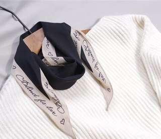 韓國進口名媛氣質焦糖橙色拼色字母菱形長領巾裝飾小絲巾