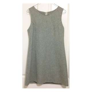 Women's Mint Grey Wool & Polyester Sleeveless Dress [AU10]