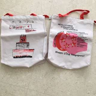 Set of 2 Sg 50 tote bags with zip