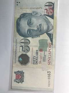 """5ZZ013563"" Singapore $50 note"