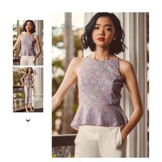YULA LACE PEPLUM IN PINK BLUE in M