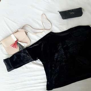 Black Velvet Sweater Cropped Top