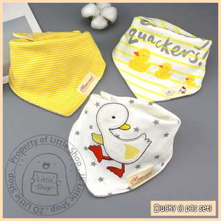 100% Cotton Mom's Care Baby Drool Bibs - Ducky Set