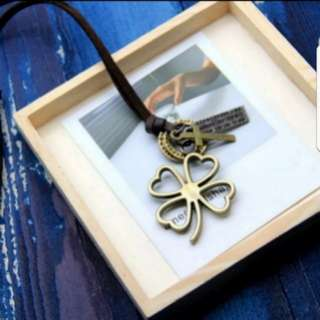 Korean fashion Retro four leaf clover sweater chain / necklace