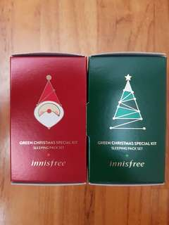 Authentic Innisfree Green Christmas Special Kit Sleeping Pack Set