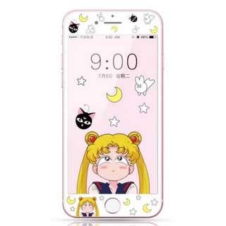 保護膜 IPhone6/7/8/plus : 卡通美少女戰士露娜貓3D軟邊鋼化膜