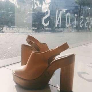 Brown Leather Chunky Heels