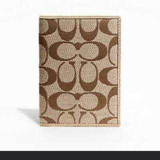 Coach Signature Passport Case 61129 (Khaki/Gold)