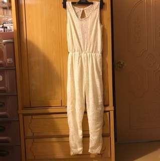 編織連身褲 米黃色