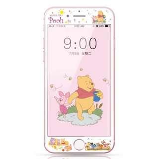 保護膜 IPhone6/7/8/plus : 卡通Winniethepooh維尼熊3D軟邊鋼化膜