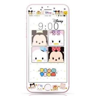 保護膜 IPhone6/7/8/plus : 廸士尼米奇米妮松鼠TSUMTSUM3D軟邊鋼化膜