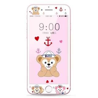 保護膜 IPhone6/7/8/plus : 情侶款芭蕾兔Duffy3D軟邊鋼化膜