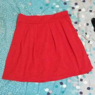 Red Mini Flare Skirt
