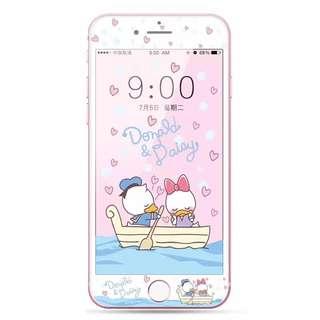 保護膜 IPhone6/7/8/plus : 情侶款唐老鴨黛西軟邊鋼化膜