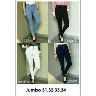 Jeans HW jumbo size 31 warna light blue